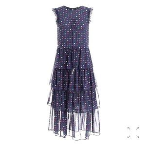 NWT! J. Crew Tiered silk dress in lip print